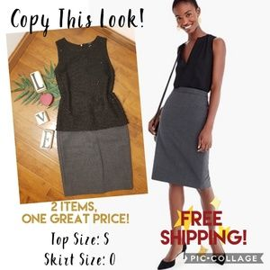 Dresses & Skirts - Classy Outfit! Gray Skirt & Black Top